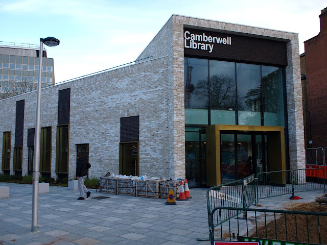 So new they haven't finished the paving yet: Camberwell Library is in the London Borough of Southwark, but only about 100 yards from the border with Lambeth, where libraries face closure or conversion into gyms