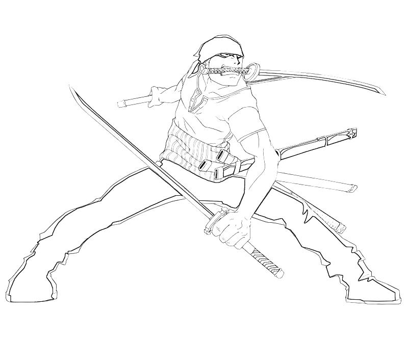 Printable One Piece Roronoa Zoro Attack Coloring Pages
