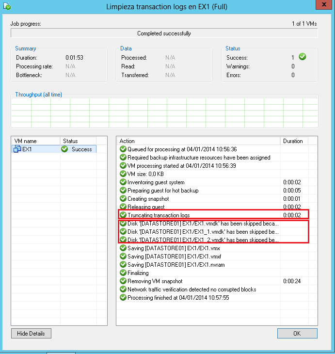 Veeam Backup: Limpieza de transaction logs de Exchange Server 2013 sin backup