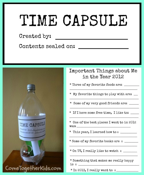 Come Together Kids New Years Eve Time Capsule with printables – Time Capsule Worksheet