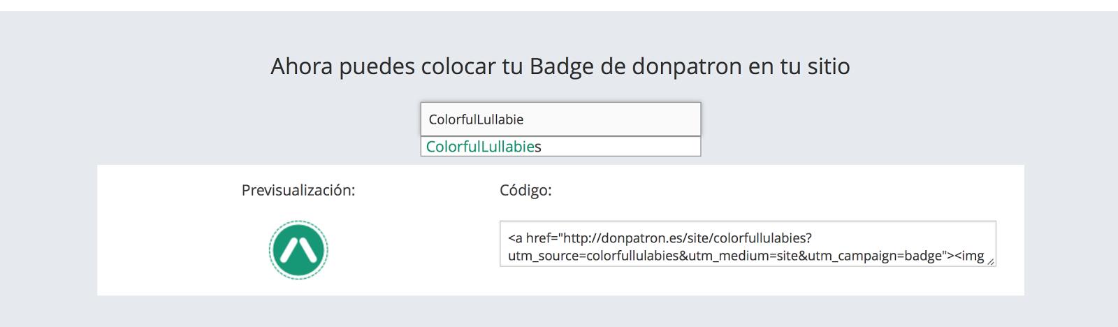 Generar badge personalizado de donpatron
