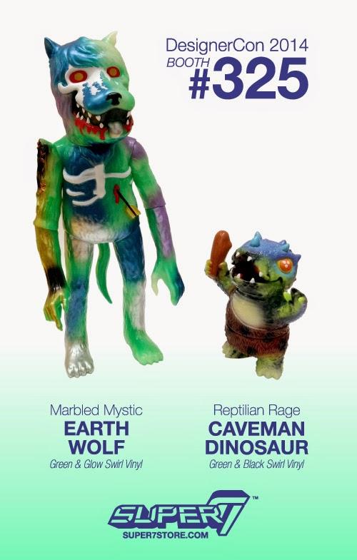 "Designer Con 2014 Exclusive ""Marbled Mystic"" Earth Wolf & ""Reptilian Rage"" Caveman Dinosaur by Josh Herbolsheimer & Super7"