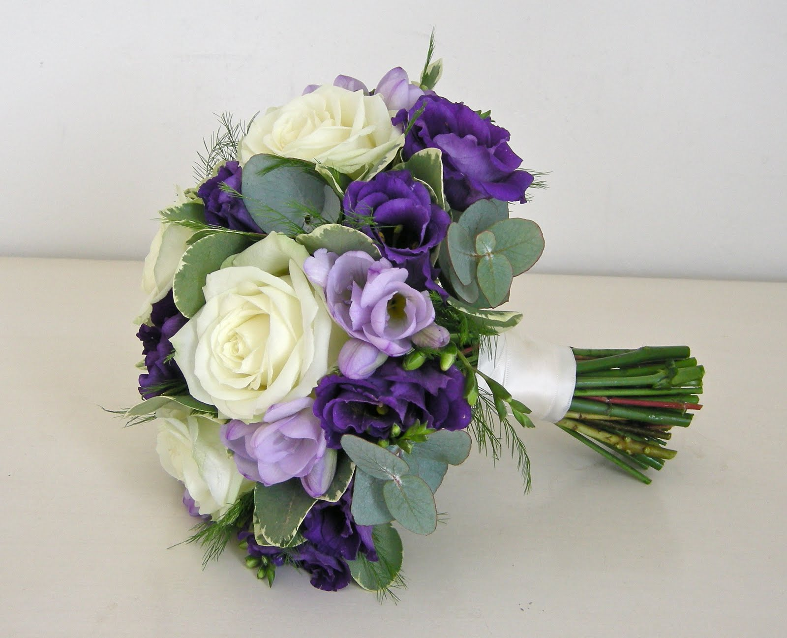 Purple wedding bouquets dahlia floral design creamy peonies carolyn 39 s bridal bouquet - Flowers good luck bridal bouquet ...