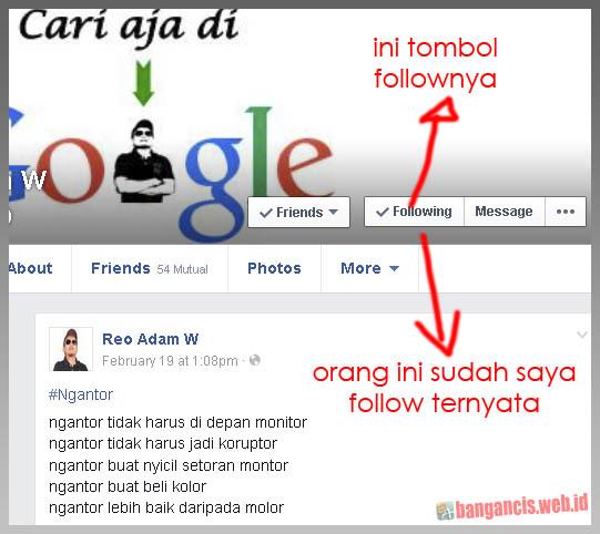 Fungsi Tombol Follow di Facebook