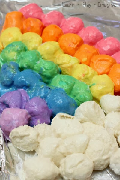 Rainbow baked cotton ball art for kids - open ended process art with cotton balls!