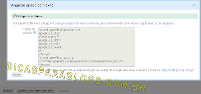 codigo pronto do google adsense