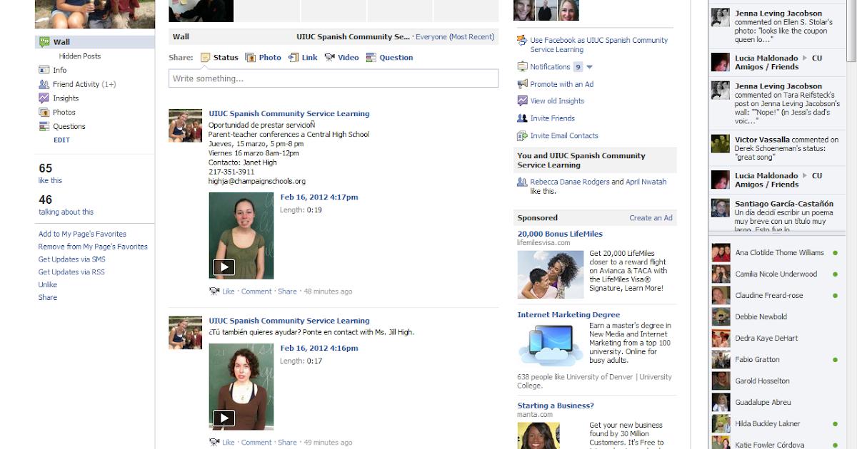 Spanish & Illinois: Facebook in my Spanish Community Service ...