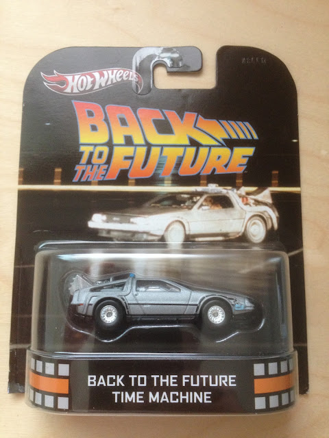 A Hot Wheels version of the DeLorean Time Machine from Back to the Future
