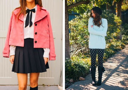 blair waldorf style, pleated mini skirt, knee high socks, cropped pink jacket, fuzzy winter sweater, mint sweater, polka dot leggings, kate spade winter boots