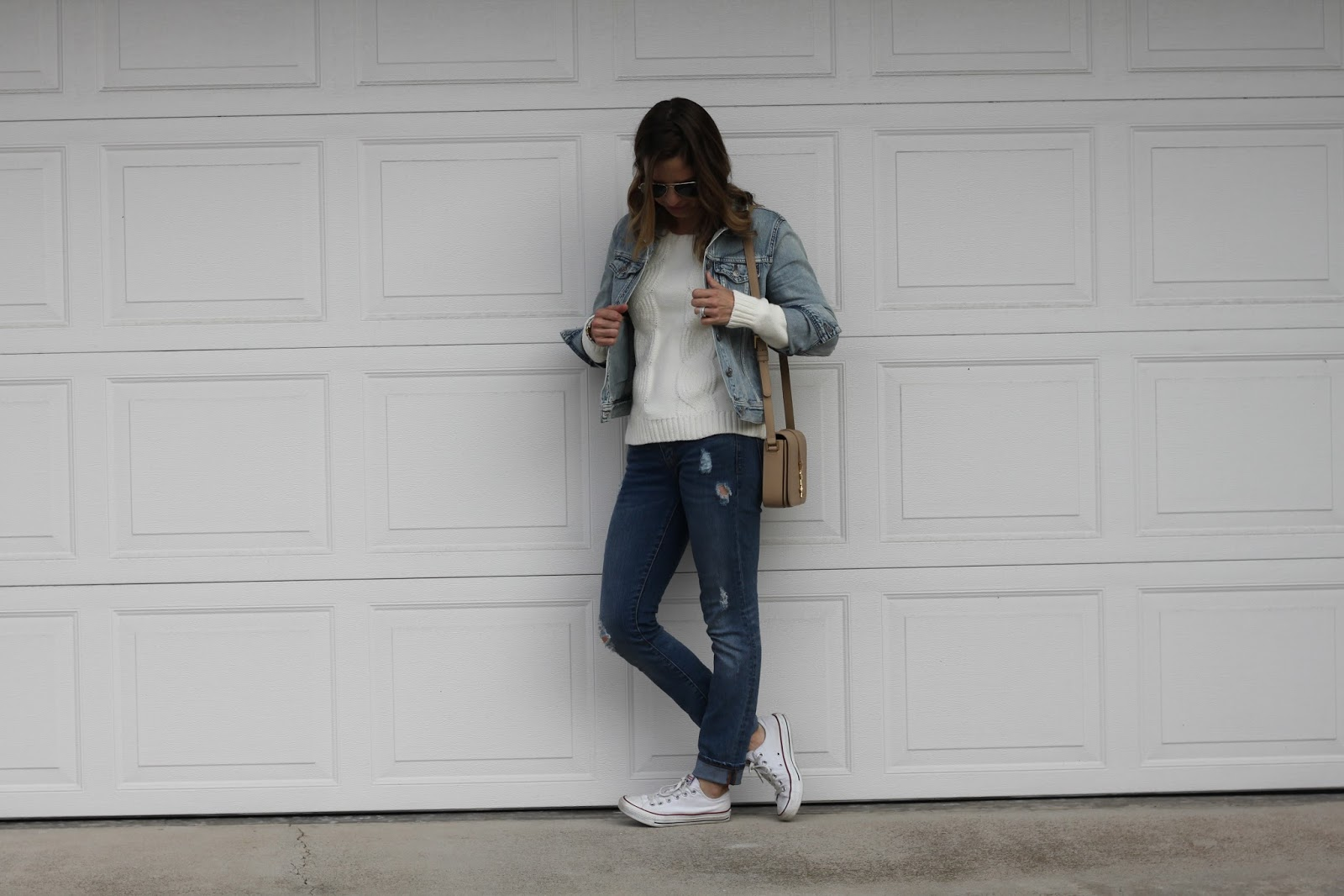 white sweater and jean jacket