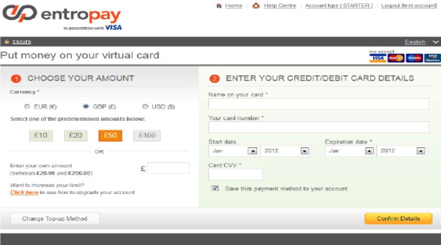 Entropay Account Virtual Card Screen