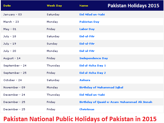 Pakistan National Public Holidays of Pakistan in 2015