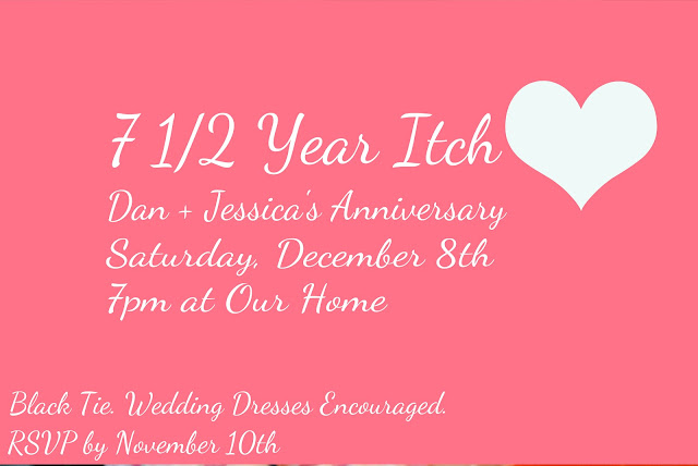 7 year itch anniversary party invitation