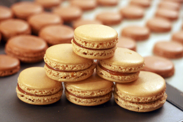 Salted Caramel Macarons in a pryamid