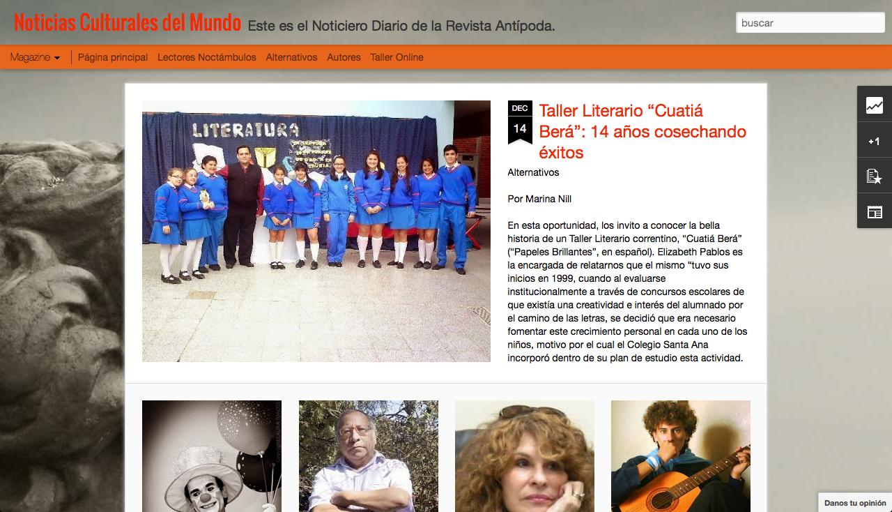 www.directoriopax.com Literatura y Arte. Este es el blog de la Revista Antípoda que se actualiza periódicamente con nueva información que, en muchos casos, no se pública en la revista. Está diseñado para difundir escritores, músicos y artistas de todo el mundo.