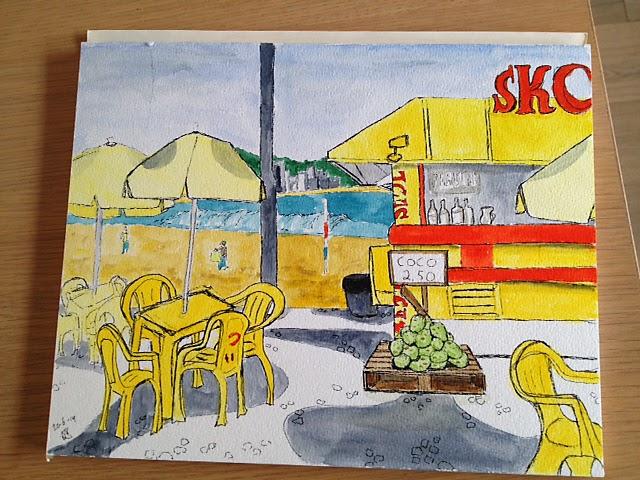 tekening van kiosk aan de copacabana