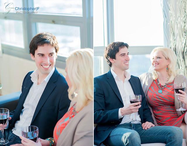 Chicago Condo Engagement Photo Indoors Wine