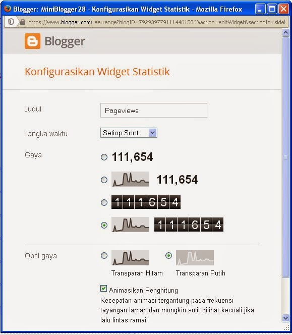 pasang pageviews di blog