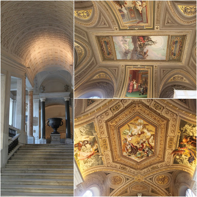 The painting and arts design on the ceilings in Musei Vaticani (Vatican Museum) in Rome, Italy