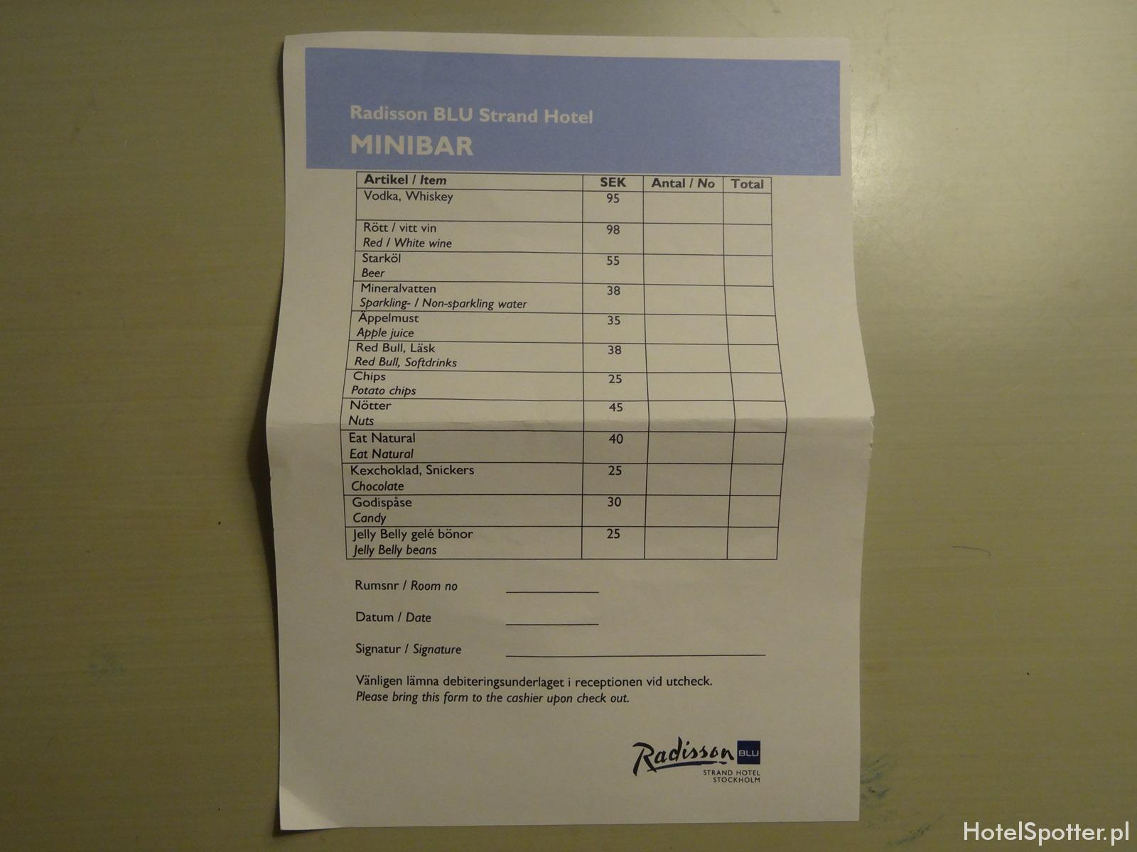 Radisson Blu Strand Hotel, Stockholm - ceny w minibarze