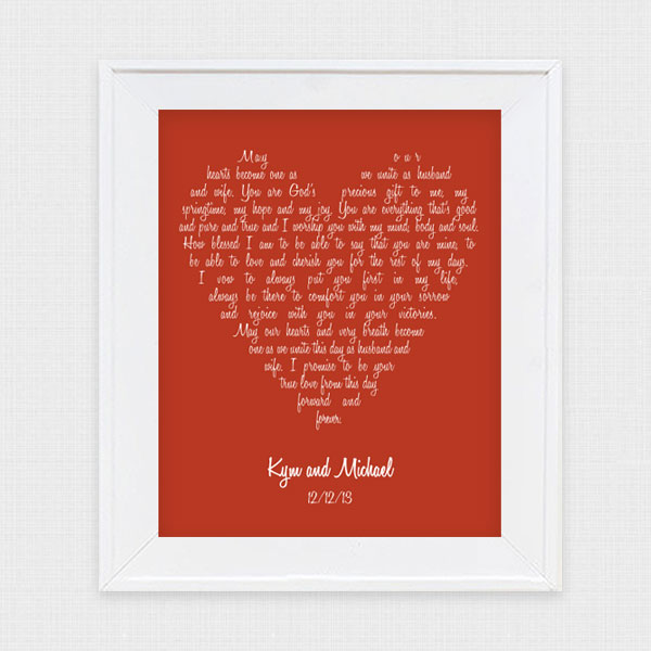 If You Re Looking For Last Minute Valentines Day Gift Ideas Then Check Out Our New Wedding Vow Art Display Your Vows In A Beautiful Custom Piece Of