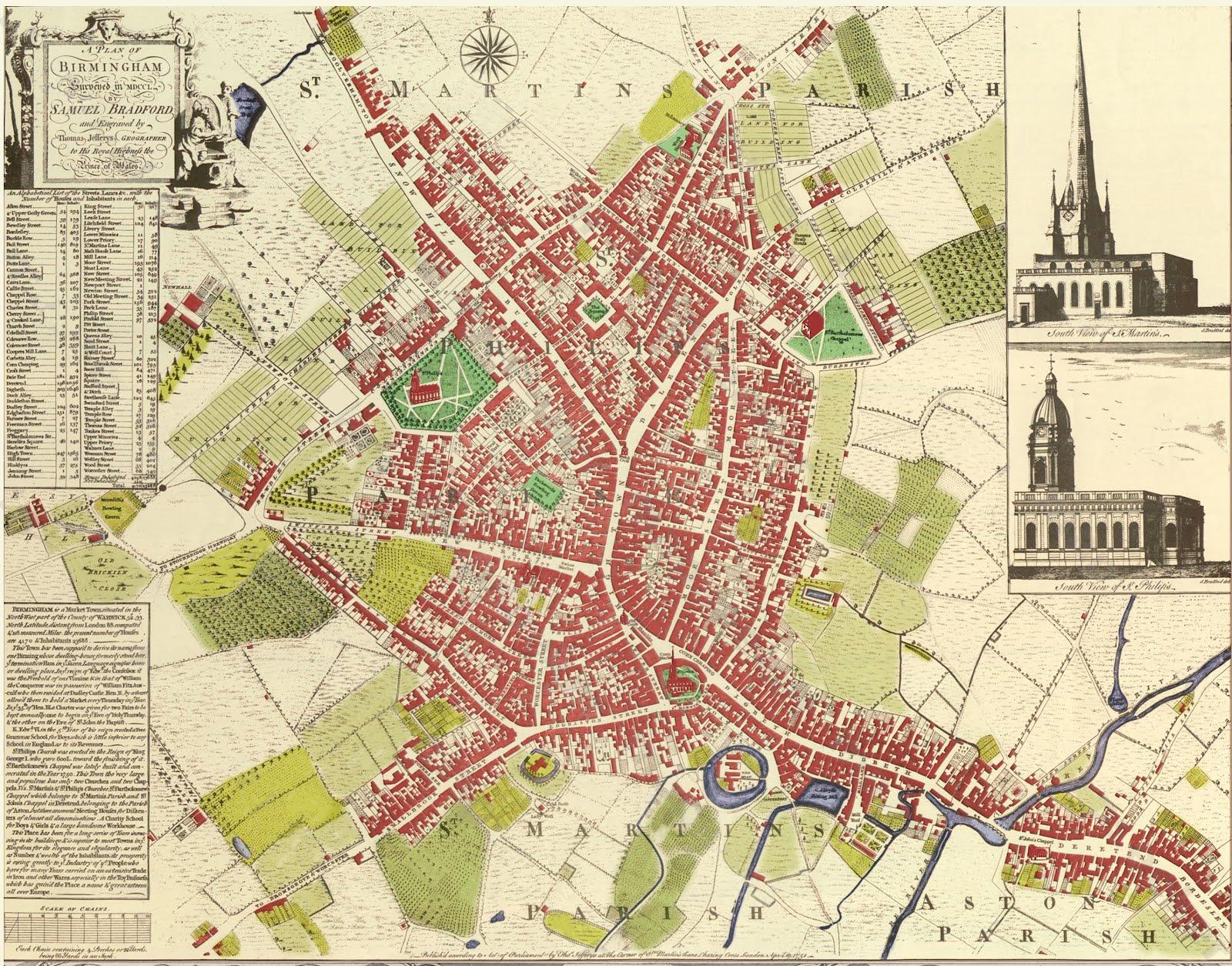 Eighteenth Century Birmingham 1750 Map of Birmingham