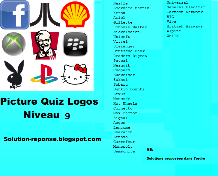 Picture Quiz logos solution niveau 9