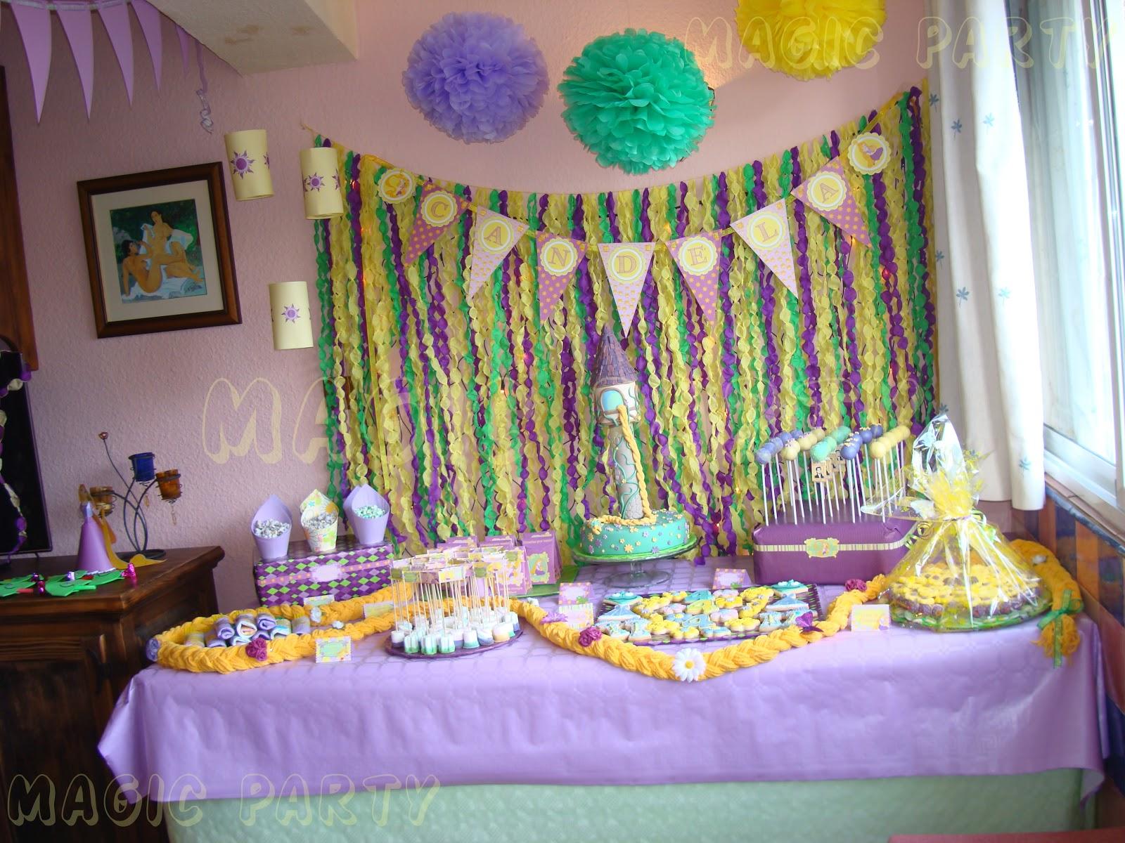 Decoracion Rapunzel Disney ~ Toda la decoraci?n de la fiesta era en tonos amarillo, verde y malva