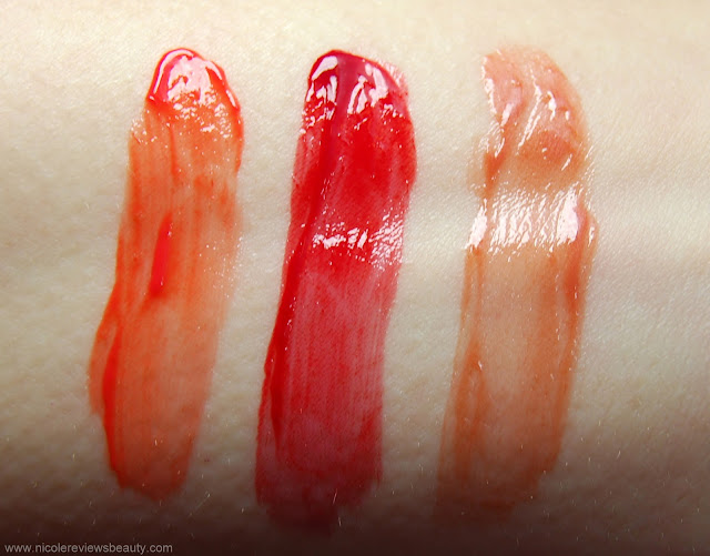 L'Oreal Colour Caresse Wet Shine Stain in 188 Coral Tattoo, 190 Endless Red, and 193 Eternally Nude Review and Swatches
