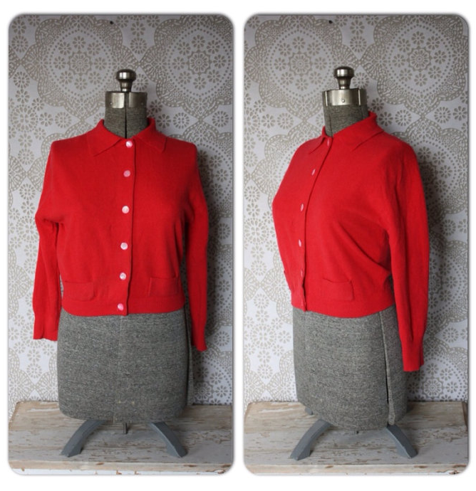 red vintage cardi #vintage #red #sweater