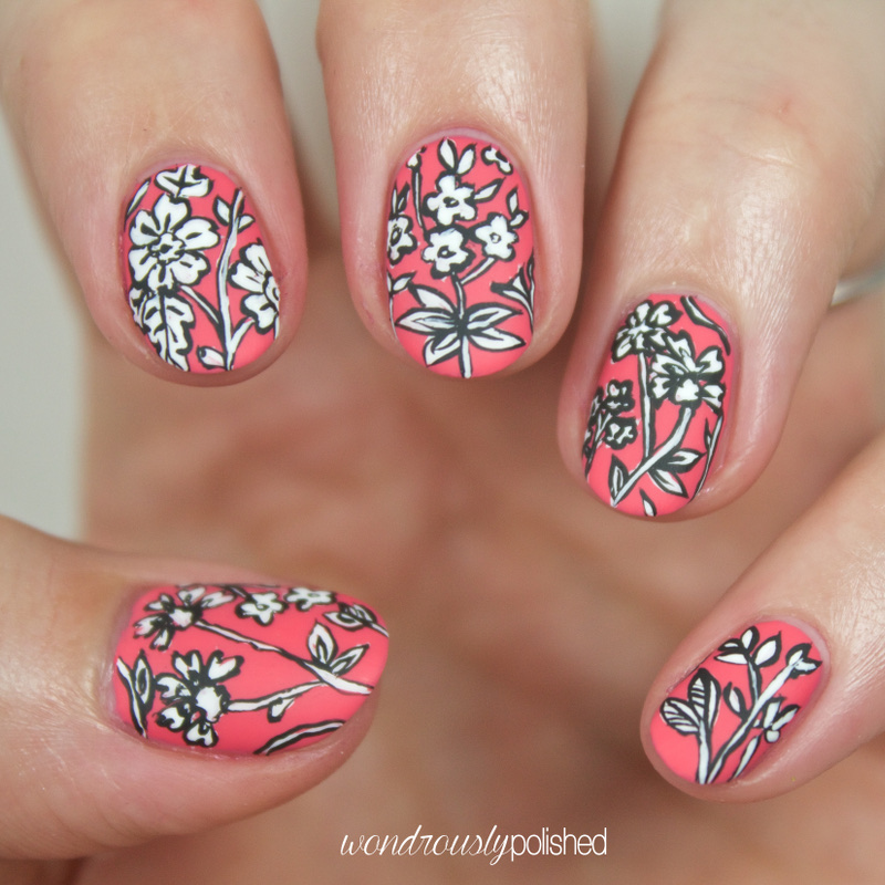 Wondrously Polished: Black on White on Salmon - Intricate Floral ...