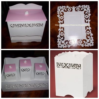 Kit higiene branco e rosa R$ 160,00 (7 peças)