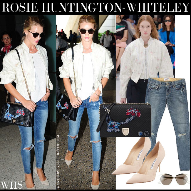 Rosie Huntington-Whiteley in white bomber Dior jacket, ripped knee Paige Denim Skyline jeans suede Blahnik pumps dior mirrored sunglasses what she wore july 7