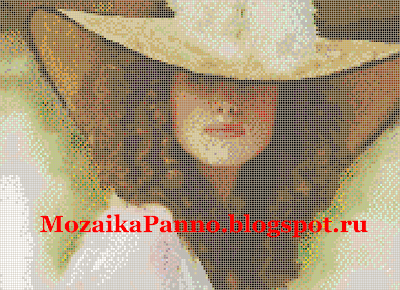 Картина из стеклянной мозаики «Женщина в шляпе»