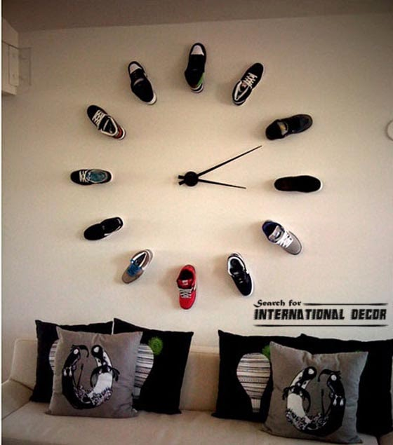 diy wall clock, cool wall clocks,creative wall clocks,shoes wall clock