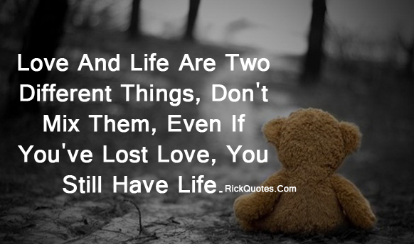 Life Quotes | Love And Life Are Two Different Things Teddy Bear alone On road