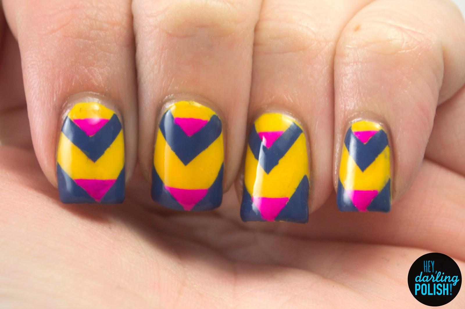 nails, nail art, nail polish, polish, yellow, pink, blue, hey darling polish, chevron, tri polish challenge