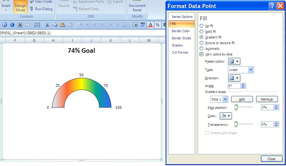 Excel Professor Speedometer Chart Gas Gauge Chart
