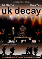 UK Decay to play Electrowerks London, Sat 16th Feb 2013