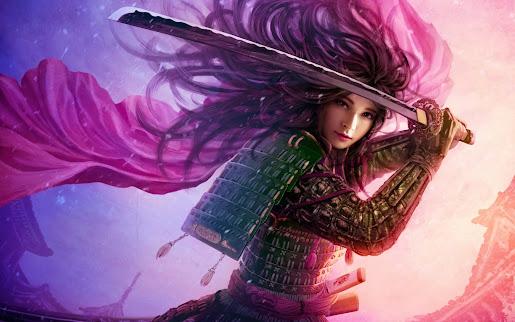 3D girl samurai katana armor wallpaper 1920x1200 widescreen