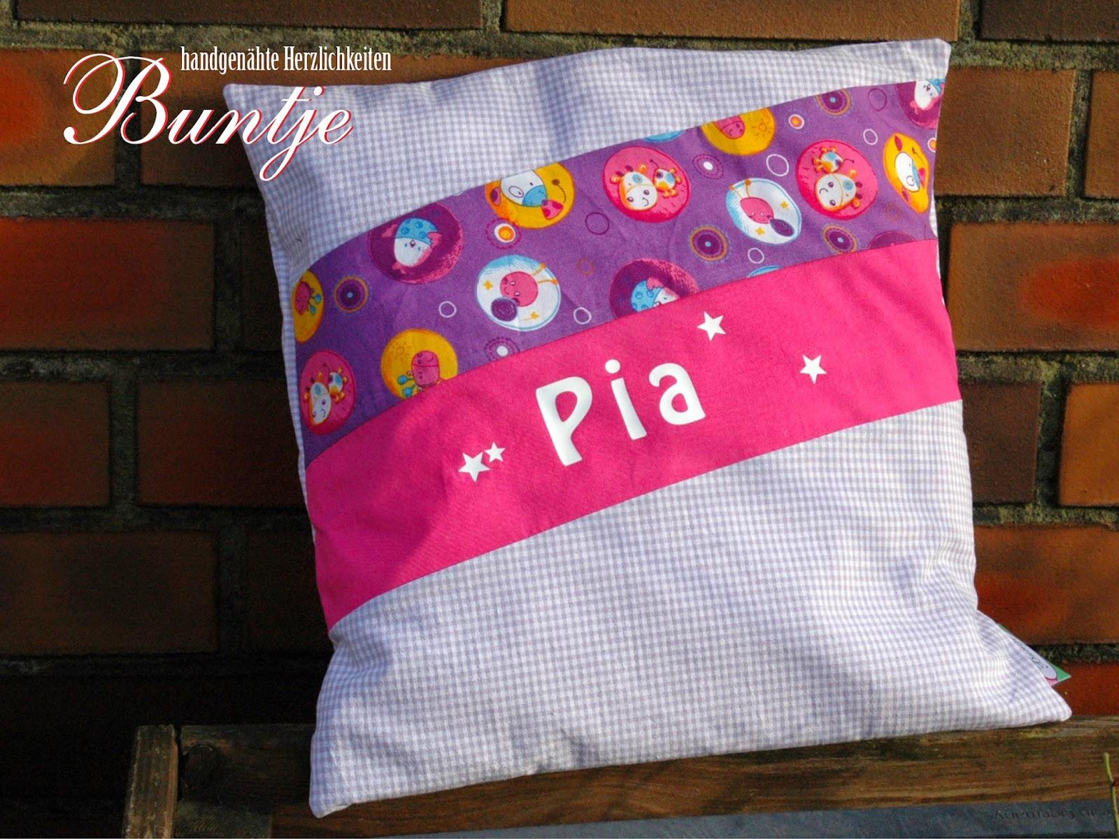 Namenskissen Kissen Name Geschenk Kind Baby Geburt Taufe 1. Geburtstag Baumwolle Mädchen lila rosa pink Karo Pia Sterne handmade nähen Buntje