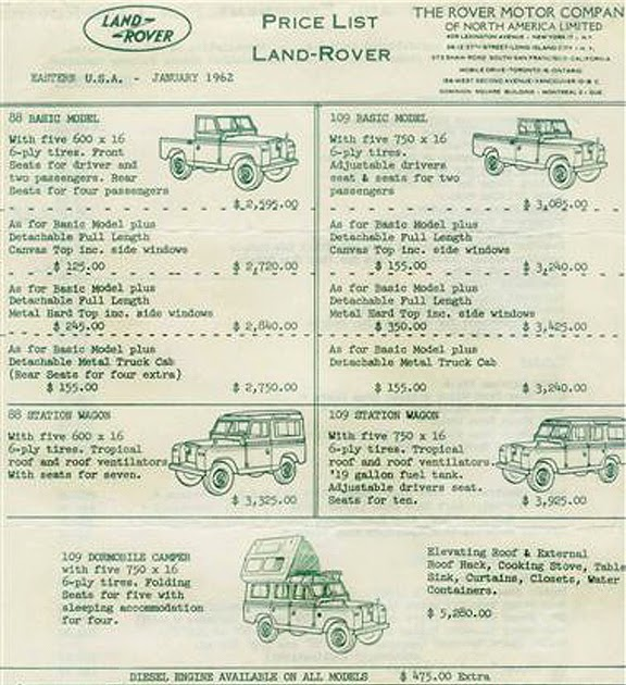 The Pinehurst Land Rover Society: 1962 Land Rover Price List