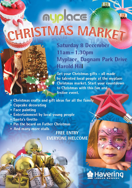 Poster for myplace Christmas Market in Harold Hill, Essex