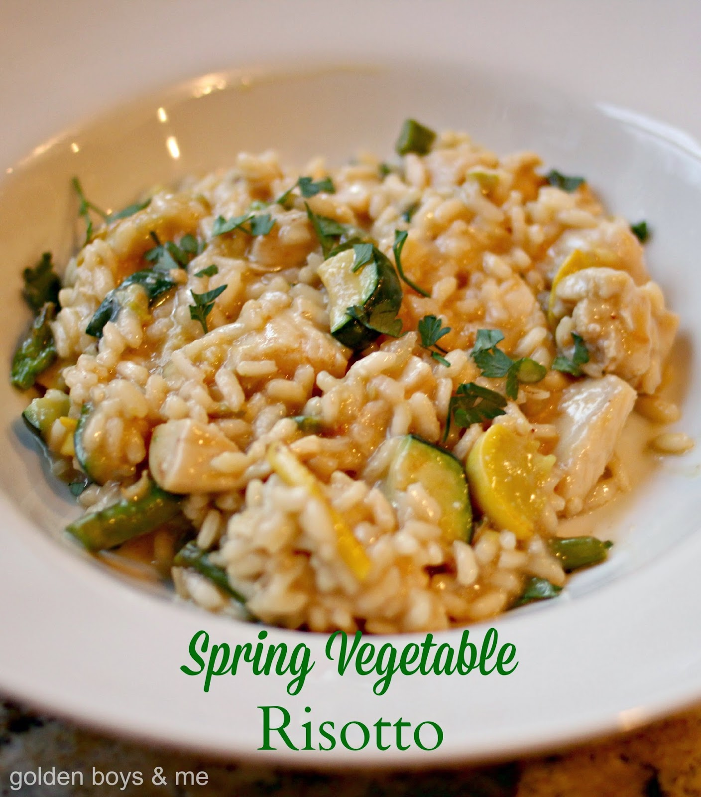 Vegetable risotto with chicken and spring vegetable-www.goldenboysandme.com