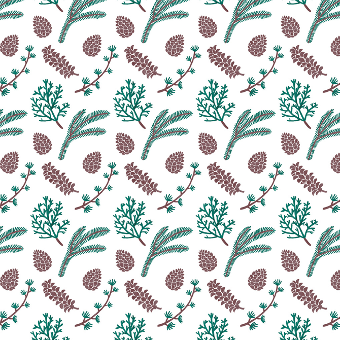 The Pine Pattern Pattern Watercolor Illustration by Haidi Shabrina