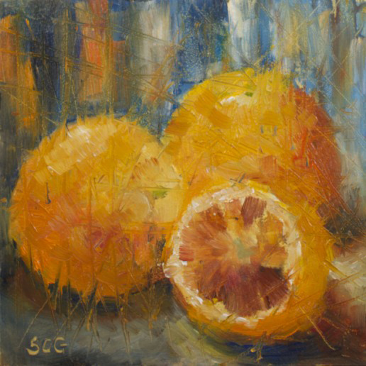 Sue Churchgrant Daily Painting Blood Oranges Orange Blue