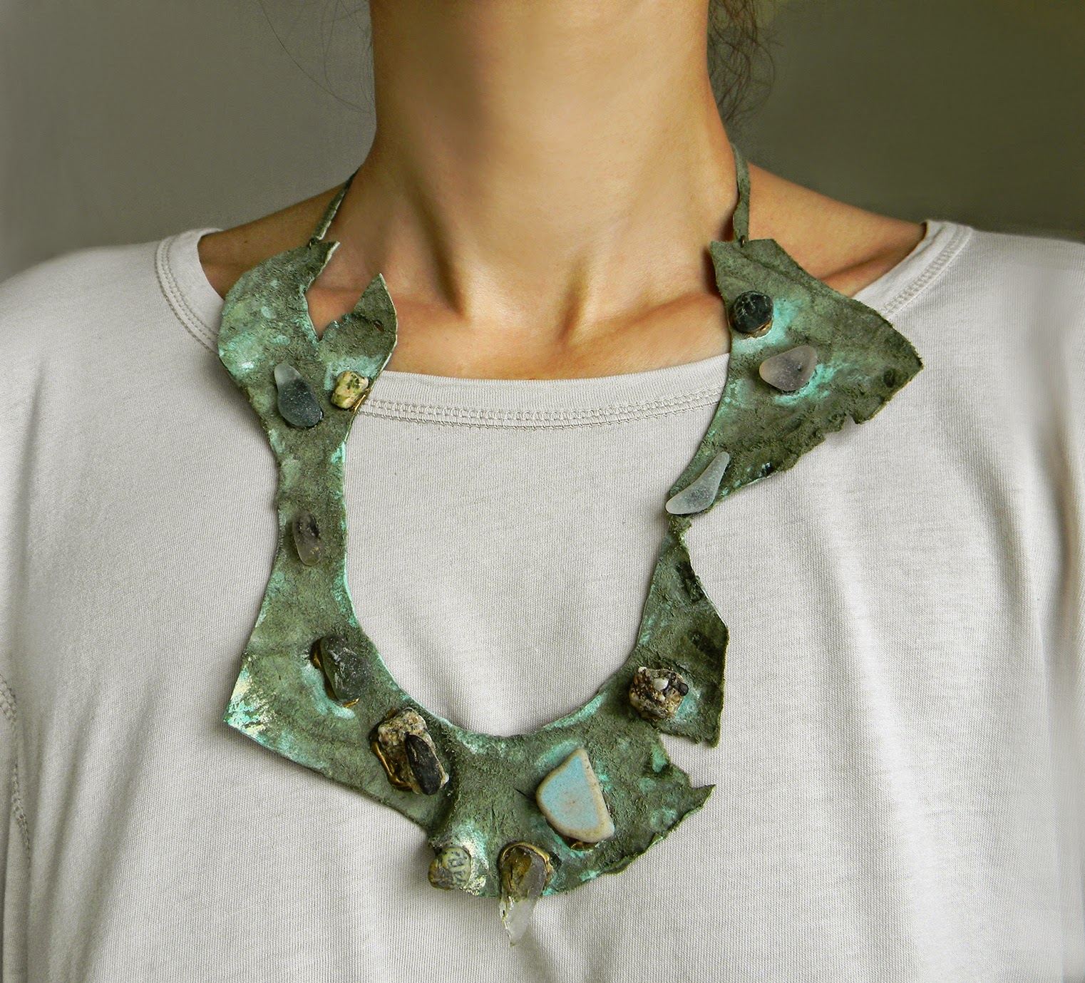 Leather Abstract Necklace with Meditarranean Sea Glass and Natural Rocks