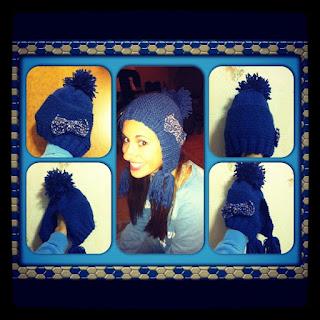 tricot bonnet bleu noeud