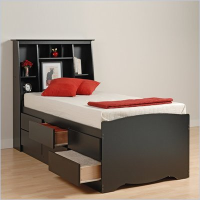Cheap Platform Beds on This Prepac Black Sonoma Tall Twin Bookcase Platform Storage Bed