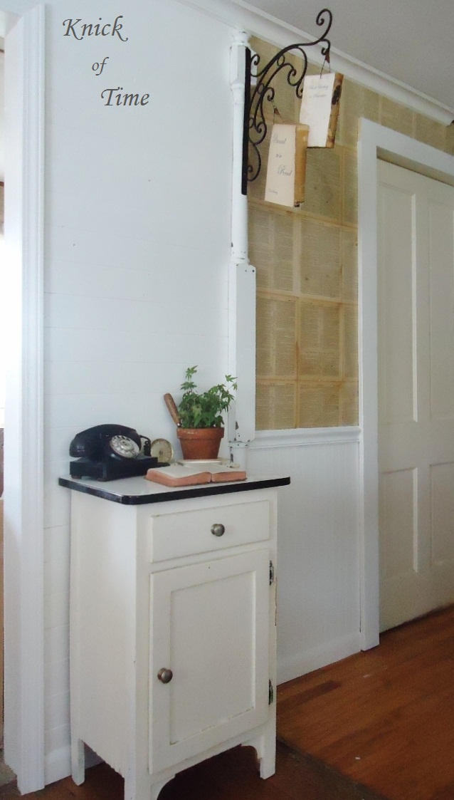 Farmhouse Kitchen Repurposed Antique Books Porch Post via KnickofTimeInteriors.blogspot.com